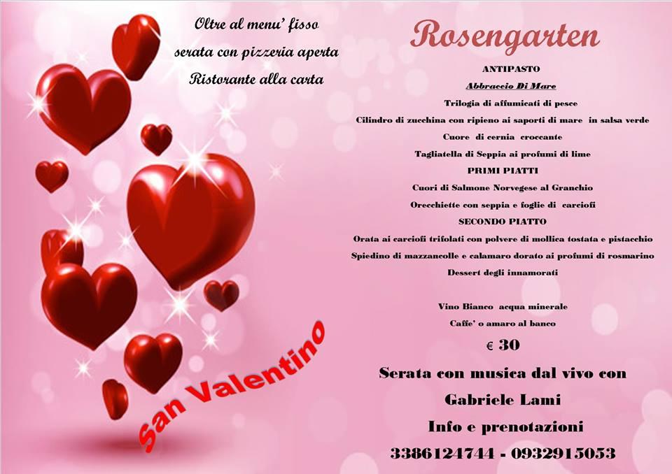 Menu San Valentino Rosengarten