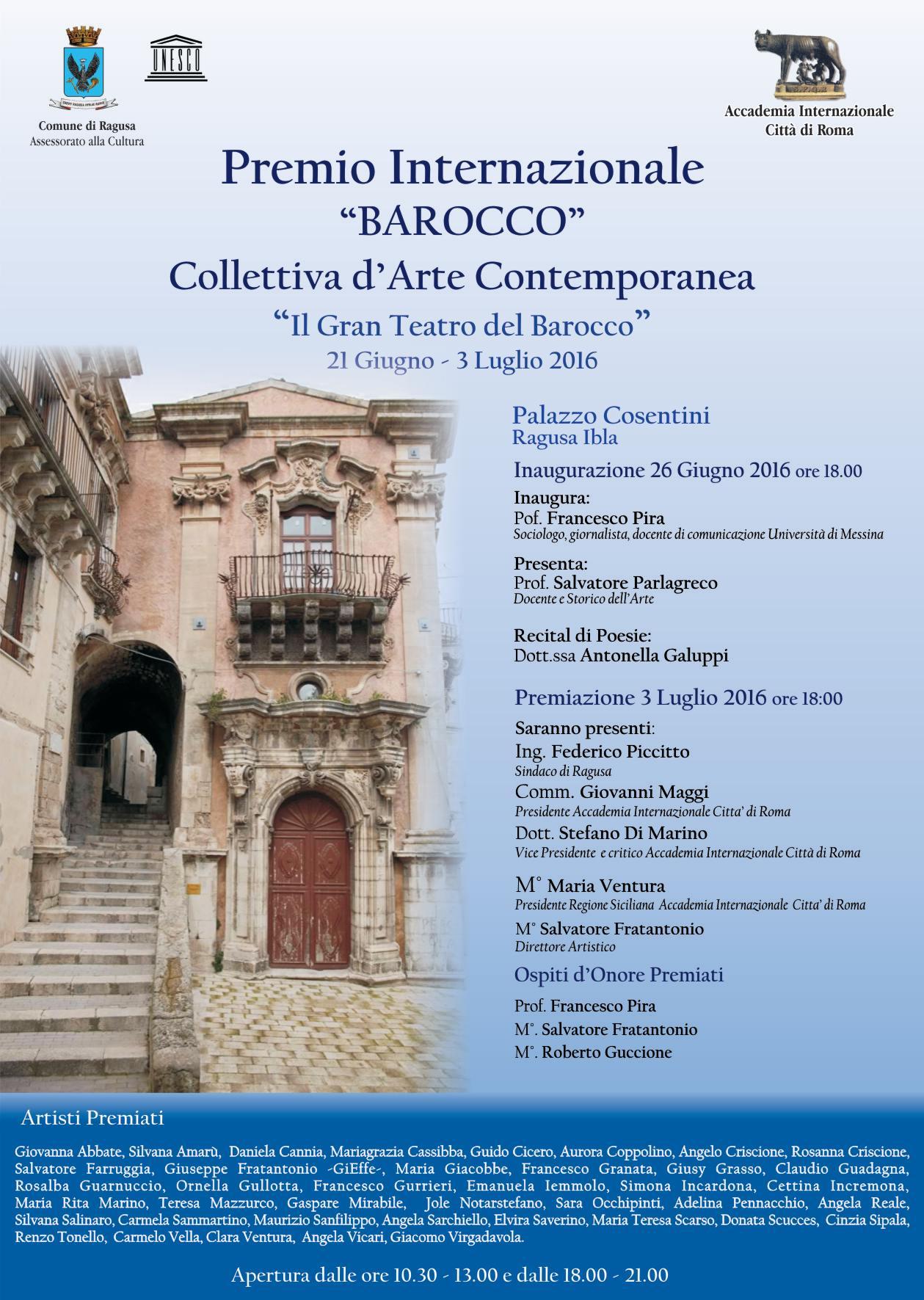 Ragusa, dal 21 giugno al 3 luglio si svolge il Premio Internazionale Barocco