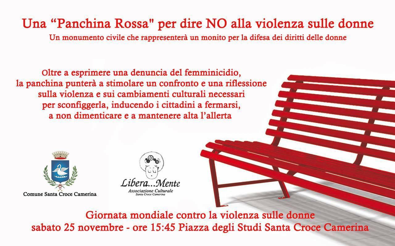 """Libera…Mente: una """"panchina rossa"""" per dire no alla violenza sulle donne"""