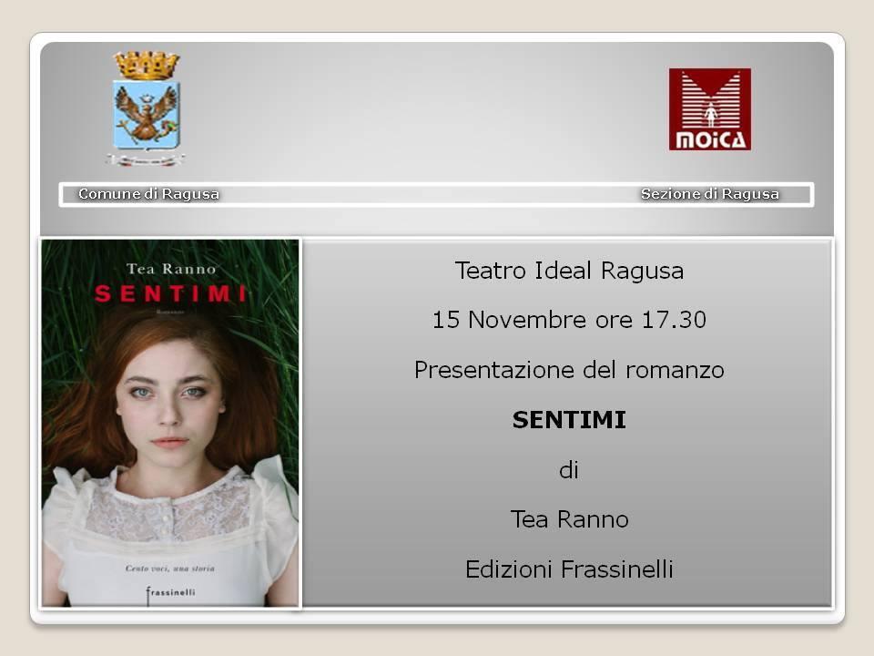 """Ragusa – Al teatro Ideal la presentazione di """"Sentimi"""", ultimo romanzo di Tea Ranno"""