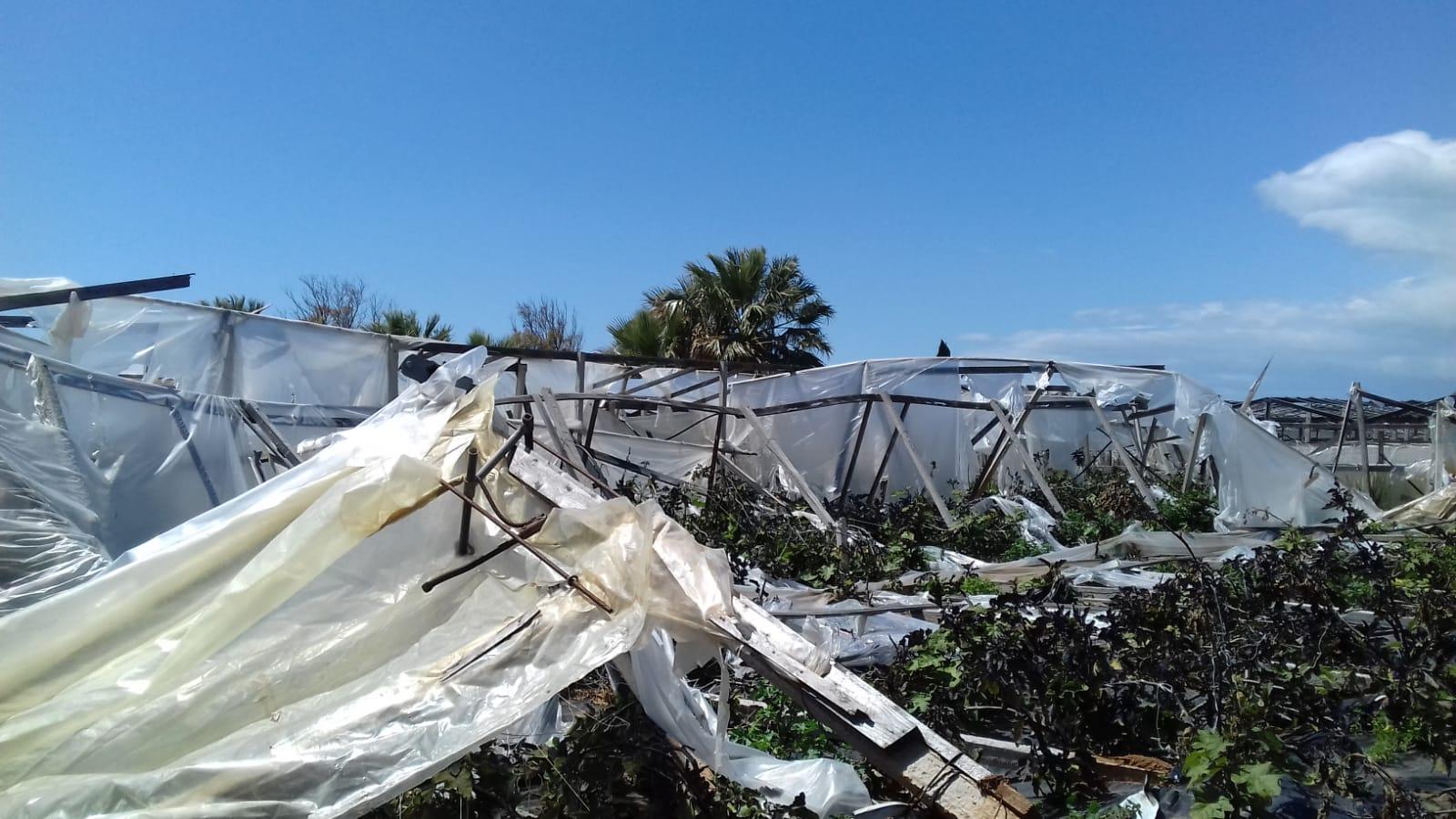 Tromba d'aria a Randello: distrutti 30 ettari di serre. La conta dei danni